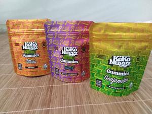 Più nuovo Koko Nuggz Runtz Gummies Gust Gust Gushers Super frutta Miscelatori di sapore di frutta 500mg Borse Mylar Svuoti Sacchetto di imballaggio con ziplock con ziplock con ziplock