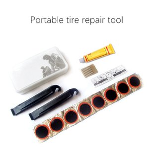 14pcs MTB Bike Tire Repair Emergency Kit Rubber Glue Patch Portable Cycling Tyre Inner Tube Puncture Repair Removal Bicycle Tool