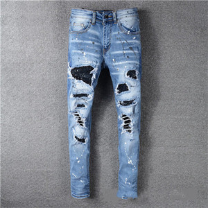 2020 Top High Quality Designer Mens Jeans Motocycle HolesLuxury Denim Men Fashion Streetwear Hombres Ropa de hombre Pantalones de diseño