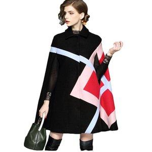 여성용 양모 혼합 가을 코트 여성 겨울 유럽 패션 레이디 망토 모직 트위드 오버 코트 보그 의류 복장 디자인 큰 크기