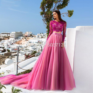 2020 Hot Pink Two Piece Prom Dresses Lace Long Sleeves A-line Appliques Tulle Long Formal Party Evening Gown Vestidos de festa