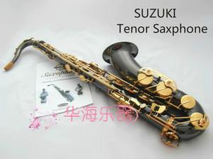Nueva llegada Suzuki Bb Tono saxofón tenor Profesional rendimiento de los instrumentos musicales de latón níquel Negro Oro Sax con el caso Boquilla