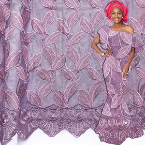 2020 Water Soluble Latest Cord Lace Fabric Stones Embroidery Nigerian African Lace Fabric Dress Material For Women Party