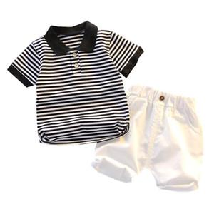 Yaz Bebek Kısa Kollu İki Parçalı Suit Çocuk Butik Giyim Toptan Çocuk Çizgili Giyim Rahat Kore Gömlek Seti