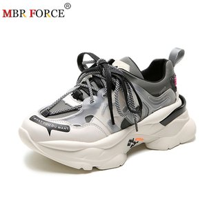 MBR FORCE Women shoes Flat Platform Sneaker casual Genuine Leather Patchwork Lace-up Thick bottom Ladies Sneaker 201019