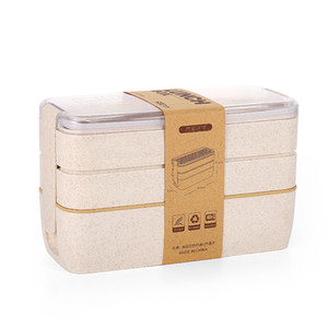 900ML Japanese Wheat Straw Stackable 3 Layers Office Bento Lunch Box 1000ML Japanese Wheat Straw Stackable 3