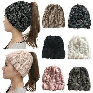 Fashion Autumn Winter Twist Wool Hat Womens Warm Knit Ponytail Cap Elastic Beanie Caps Simple Empty Top Cap 7 Colors Wholesale DBC BH4218