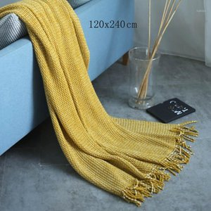 Casa Coperta di divano sedia a maglia con nappa Lounge Coperchio reclinabile Plaid Patio Garden Quilt Donne Manta Cape1