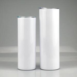 30Oz 20Oz leerer Sublimation Verjüngung dünn Tumbler DIY Edelstahl Tasse Doppelwand Vakuum isolierte Kaffeetasse mit Strohmeter versand GWA2025