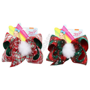 7 pulgadas JOJO Siwa horquilla de clip de Navidad para bebés de tela escocesa grande arcos del pelo del Bowknot de piel bola pernos de pelo de la horquilla Barrettes Toca D92201