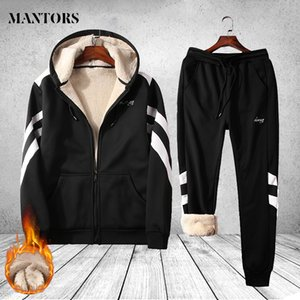 Men's Tracksuit Thick Winter Two Pieces Sets Sweatsuit Overalls Male Leisure Suit Hoodies Jackets Pants Mens Clothing Sportswear Q1110