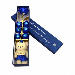 24K الذهب احباط روز مع صابون روز الزهور والدب هدية مثالية لعيد الحب عيد الأم يوم الذكرى الهدايا مشاركي المنتدى #