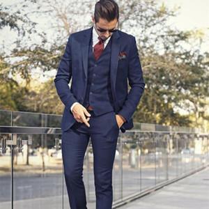 Handsome Navy blue (Jacket+Pants+vest) Business Mens Suits 3 Pieces Groomsmen Suit Wedding Suit for Men Groom Tuxedo Custom