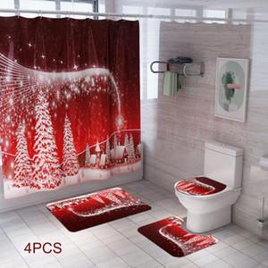 4Pcs Christmas Bath Mat WC Toilet Seat Cover Shower Curtain Set Toilet Mat Toilette Indoor Decoration Christmas Bathroom Decora1