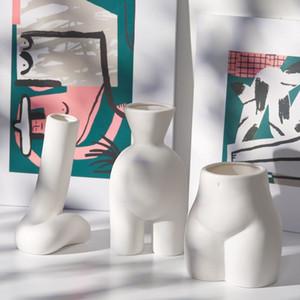 Ins Nordic white ceramics creative simple dry flower vase home decoration living room porch flower arrangement