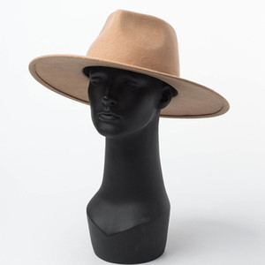 Fashion - Chapeau de PorkPie de PorkPie large classique Fedora Camel Noir 100% laine Chapeaux Hommes Femmes Cascassables Hiver chapeau d'hiver