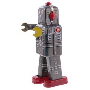Arrefecer Wind Up Walking Robot MS439 Clockwork Toy Tin com chave Collectible presente do aniversário do Natal