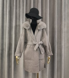 2020 Brand famous Real Cashmere woolen Coat With real Fox Fur Hoodie real fur Coats abrigos para mujer LJ201201