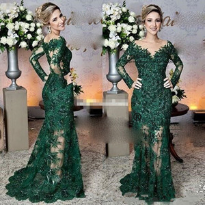 Sparkly Prom Dresses Long Illusion Sleeve Vintage Dark Green Formal Evening Dresses Lace Appliques Mermaid Prom Party Gowns