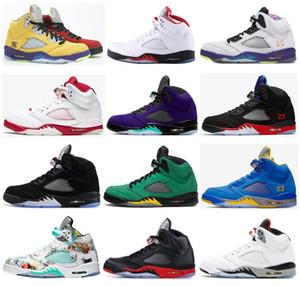 Nuevo 5 Fuego Lo Rojo El Negro metálico alternativo Bel Top 3 alternativo Satén de la uva Bred Cemento alas blancas 5S zapatos de baloncesto de los hombres zapatillas de deporte