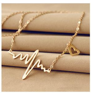 Moda Simples Notas ECG Pulsação Freqüência Feminino Pendant Clavícula Cadeia Colar coração se sentir pingentes colar camisola Mulheres