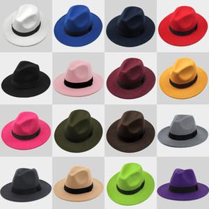 New Fashion TOP hats for men & women Elegant fashion Solid felt Fedora Hat Band Wide Flat Brim Jazz Hats Stylish Trilby Panama Caps