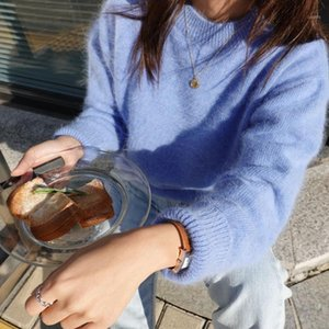 Hamaliel Fashioh Yüksek Kaliteli Kadın Örme Kazak Sonbahar Mavi Vizon Kaşmir Yumuşak Sıcak Bayanlar O Boyun Tifte Gevşek Kazaklar1