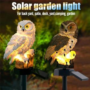2 Colours Outdoor Garden Sculptures Lamp Owl Shape for Garden Decoration Waterproof Bird Resin Yard Garden Decor Light