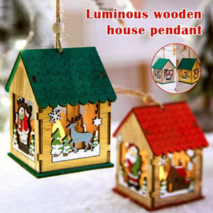 New Lighting Wood Mini Cabin Decoration Luminous DIY Assembling Christmas Pendant Ornament Decoration Lights Drop Shipping