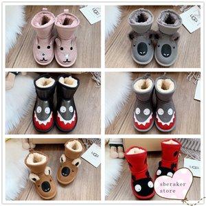 UGG 2020 new Snow Boots Waterproof Children's Shoes Little Monster Series Shark Pink Rabbit Koala Winter Plush Children's Shoes 25-34 fgh#