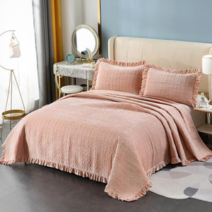 CHAUSUB Plush Cotton Quilt Set 3PCS Embroidered Bedspread Bed Cover Pillowcase King Queen Size Winter Crystal Velvet Coverlet