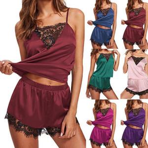Nouveau style dames femmes Ensembles exotiques Costume dentelle Patchwork Lingerie de nuit Chemise de nuit Ensembles Pyjama femmes manches Slip Mode chaud