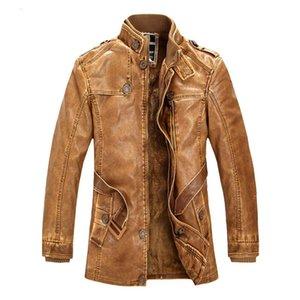 New Men longo casaco de couro do inverno dos homens casaco quente Outwear Moda PU Leather Jacket masculino de lã grossa Jackets HI-Q