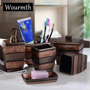 Wourmth Europea Resina baño Set de accesorios de baño de jabón titular Sanitarios baño conjunto Cepillos de dientes Copa regalos Plato de 6pcs / set tPwH #