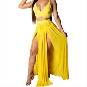 women tracksuit Summer Beach Women Deep V Party Dress Long Skirt Crop Top Two Piece Set
