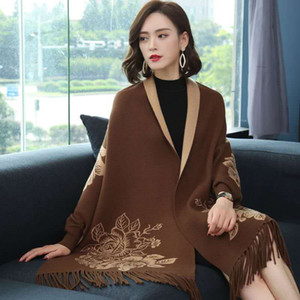 Top brand celebrity design sleeve shawl women autumn winter wool jacquard thickening warm cape style double-sided wear cape coat scarf dual