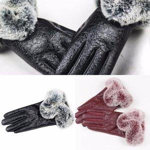 Femmes Muqgew Lady en cuir noir Automne Hiver fourrure de lapin moufles Magasin Anti-uv Gants en dentelle de haute qualité 73UQ