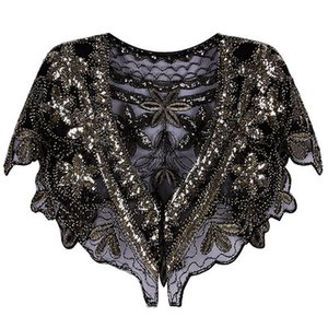Black Friday Vintage 1920s Shawl Sequin Beaded Short Cape Great Gatsby Party Mesh Flapper Dress Cover Up Women Evening Wrap Poncho