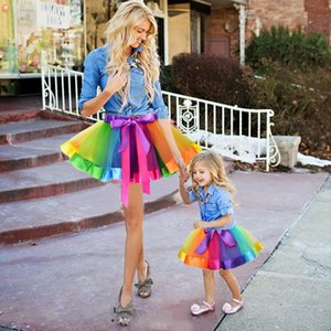 New Fashion Kids Mother And Daughter Summer Rainbow High Waist Tutu Skirt Party Matching Outfits Bow Skirt Baby Girl Clothes