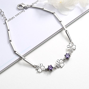 Gift Women's Four-leaf Clover Rotating Flower Bracelet Korean Lucky Four-leaf Clover Diamond Bracelet