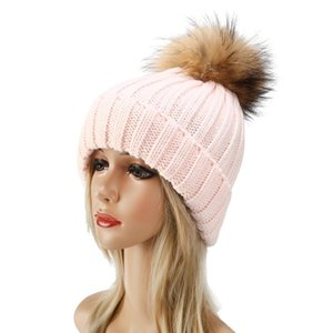 2Pcs Parent-Child Ribbed Knitted Beanie Hat Set Mother Baby Family Winter Pom Pom Warmer Solid Color Cuffed Skull Cap