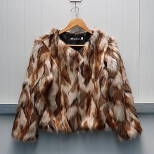 S-6XL Yeni Moda Sonbahar ve Kış Kadın Faux Fur Palto Karışık Renkli İmitasyon Kürk Kısa Coat