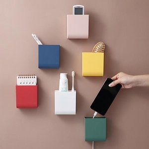 Wall mounted remote control storage box multi function mobile phone charging storage at home