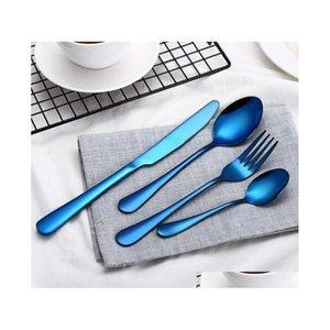 4 PCs / conjunto de cutelaria de aço inoxidável / preto / cores de mistura / azul / de prata banhado a faca de louça FORK SQCBJZ WPHHME