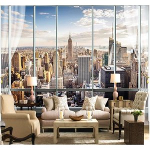 wholesale-custom photo wallpaper 3d stereo large murals modern false windows living sofa bed bedroom new york flash silver cloth