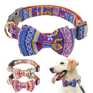 Bow Knot Small Dog Collar Cute Puppy Collars for Chihuahua Small Dogs Print Bow Tie Pet Collar for Medium Dog Pitbull