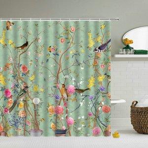 Rideaux de douche imperméables Fleurs Birds 3D Salle de bain Rideaux avec crochets Décoration de la maison 180 * 240cm Impression Écran de bain lavable lavable F1222