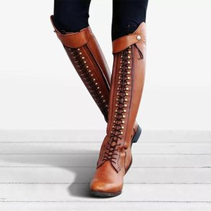 2020 Winter Warm Snow Boots Womens Sexy Western Platform Cowboy Lace-Up shoes woman Round Toe Over The Knee High knight Boots
