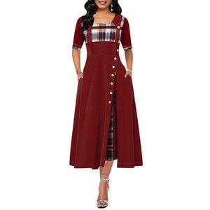 Elegant Long Women Autumn Plaid Print Party Irregular Vintage Dresses Ladies Button A-Line Dress Robe vestidos D30 Y200805