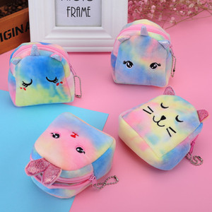 2021 Coin Purse Doll Backpack Mini Plush Doll Bags Cute Cash Pouch Small Wallets Zipper unicorn cat Key Chain Dollar Gifts for girls